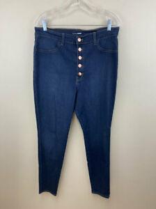 Fashion Nova 1X Super High Waist Exposed Button Fly Skinny Blue Jeans Stretch