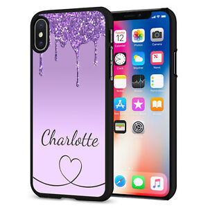 PERSONALISED NAME Glitter HEART Phone Hard Case Cover For iPhone 12 164-5 Black