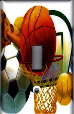 SPORTS BASKETBALL SOCCER HOME WALL DECOR SINGLE LIGHT SWITCH PLATE