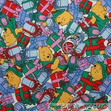 BonEful Fabric FQ Cotton Quilt VTG Winnie the Pooh Bear Xmas Disney Gift Red OOP