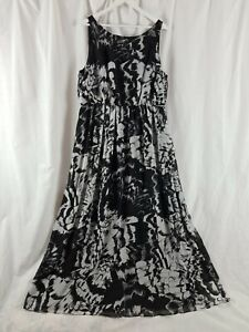 MONSOON BLACK & WHITE LONG FLOATY FLORAL EMBELLISHED OCCASION MAXI DRESS SIZE 20