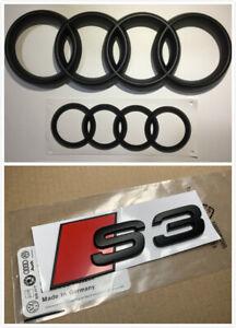 Audi S3 Front Rear Emblem Full Set Matte Black Badge Set For Audi A3 S3 Fit