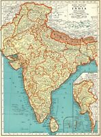 1937 Antique INDIA Map Vintage Map of BURMA MAP of India Gallery Wall Art 8063