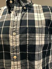 Abercrombie & Fitch Long Sleeve Plaid Shirt Navy/White Excellent Condition XL