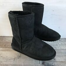 EMU Australia Black Stinger Low Croc Sheepskin Boots Size W6 UK 4 EUR 37 Winter