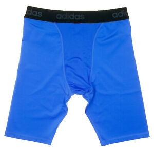 Adidas Mens Running Tights Shorts Blue Sports Fitness Gym Football Basketball