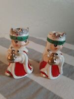 60s HOLT HOWARD- BELL/CANDLE HOLDER CERAMIC NOBLE FIGURINE CHRISTMAS JAPAN(pair)