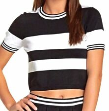 Romeo And Juliet Couture Stripe Crop Top Size Medium New With Tags NWT