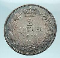 1912 SERBIA with King Peter Petar I Antique Silver 2 Dinar Serbian Coin i78962