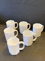 Arcoroc France OCTIME White milk Glass Octagon Set Of 6 Coffee Mugs Cups France