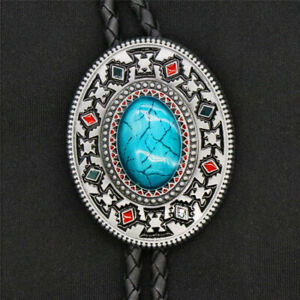 Original Western Cowboy Inlay Turquoise Totem Bolo Tie Clip 40 Inch Leather Rope