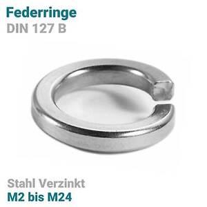 Federringe DIN 127 Form B - B2 bis B24 - Federscheiben Stahl Verzinkt