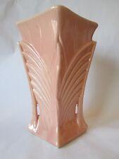 ART DECO DIAMOND VASE! Vintage McCOY ART pottery 1941: gloss PINK glaze: LOVELY