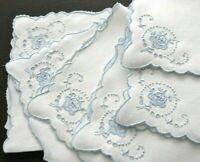 """6 madeira Embroidery Linen Tea Napkins 14"""" Delicate Blue Floral Handwork, VTG."""