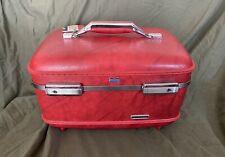 American Tourister Marbled Red Train Case Suitcase Cosmetic Makeup w Tray & Keys