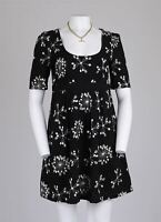 FC Retro Embroidered Floral 60s Boho Prairie Scoop Smock Mini Tea Dress 14