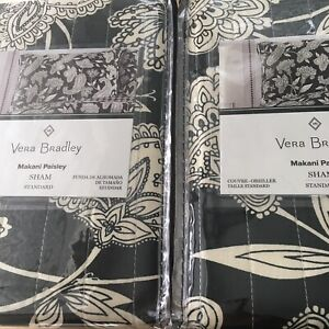 "Vera Bradley Black Makani Paisley 2 STANDARD Pillow Shams 20"" x 26"" NIP Free 📦"