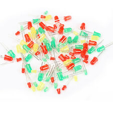 100 x 3mm 5mm Round Through Hole Light Red Green Yellow LED Emitting Diodes