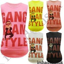 "Nuevo CHICAS ""Gangnam Style"" Funny Fashion Camiseta Tamaño 7-13 Años Sin Mangas"