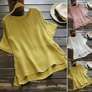 Womens Summer Round Neck Casual Plain Baggy Tops Ladies Shirts Blouse Plus Size