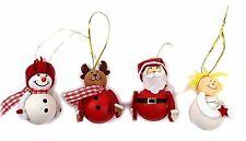 Carino Natale da appendere DECORAZIONI ALBERO NATALE 4 confezione in scatola carattere fatto a mano