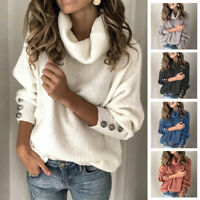 Women's Long Sleeve Turtleneck Knitted Sweater Jumper Casual Loose Pullover Tops