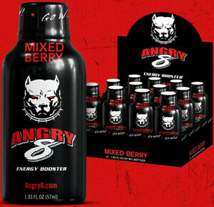 12pk ANGRY 8 Extra Strength Energy Mixed Berry Shots ~* FAST FREE SHIPPING ! *~