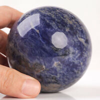 563g 74mm Large Natural Blue Sodalite Quartz Crystal Sphere Healing Ball Chakra