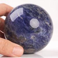563g 74mm Large Natural Blue Sodalite Crystal Sphere Healing Ball Chakra