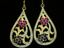 EP029- Large Genuine 9K 9ct SOLID Gold NATURAL Diamond, Ruby & Sapphire Earrings