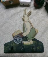 Folk Art Primitive Easter Decoration bunny with eggs vintage 1991 Shabby Chic