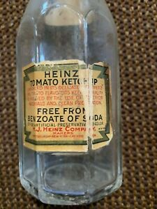 """Antique Heinz ketchup bottle. """"Free from benzoate of soda"""""""