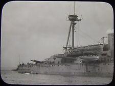 Glass Magic Lantern Slide GUNS OF HMS NEPTUNE C1910 PHOTO ROYAL NAVY BATTLESHIP