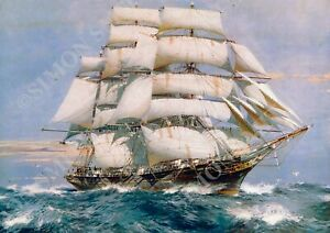 Cutty Sark Print Tea Clipper ship by Spurling Sailing Tall Ship