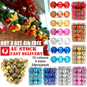 24/32/48Pc Christmas Tree Xmas Balls Decorations Baubles Party Ornament AU STOCK