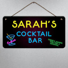 Personalised Neon Cocktail Plaque- Metal Sign Custom Bar Bright Gift Fun