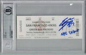Eddie Lacy Autographed/Signed Green Bay Packers Ticket NFL Debut BAS Slab 25263