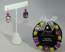 Halloween Skull Bracelet Earrings Set Black Purple White Bead Costume Accessory