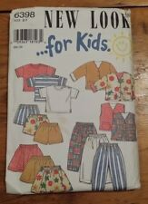 NEW LOOK KIDS TOP VEST COAT PANTS SKIRT PATTERN 6398 SIZE 2-7 FREE SHIPPING