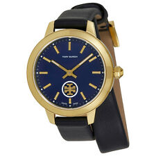 Tory Burch Collins Navy Blue Dial Ladies Double Wrap Leather Watch TB1303