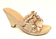 BORN Crown Size 9 Gold Metallic Ruffle Slide Wedge Sandals Shoes 40.5