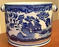 """VTG Moriyama Japan Blue Willow Biscuit Barrel Jar MISSING LID 7.25"""" W x 5.75"""" H"""