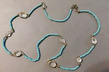 Designer Vintage Turquoise Blue Bead And Crystal Long Flapper Style Necklace (P)