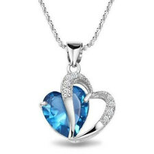 Hot Fashion Women Heart Crystal 18K White Gold Plated Pendant Necklace