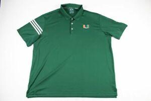 Miami Hurricanes adidas Polo Shirt Men's Green Climacool Used 3XL