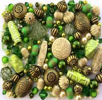 Large Pack of Mixed Green Jewellery Making Beads 80g