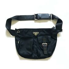 Vintage Prada Nylon Fanny Pack Bag Purse Black Adjustable Strap Dust Bag Rare