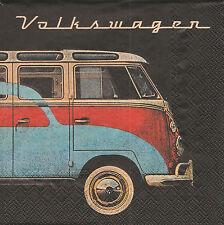 2 Serviettes en papier Bus Volkswagen Decoupage Paper Napkins Samba Beetle VW