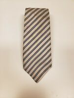 BANANA REPUBLIC STRIPED GRAY CLASSIC MADE IN ITALY NECK TIE LUXURY 100% SILK