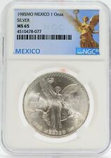 1985 Mexico Libertad Silver 1 oz Onza NGC MS65 Coin Moneda de Plata - JD514